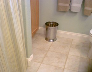 Install Baseboard in Bathroom